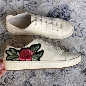 Joie Cream Sneakers w/ Rose Embroidery